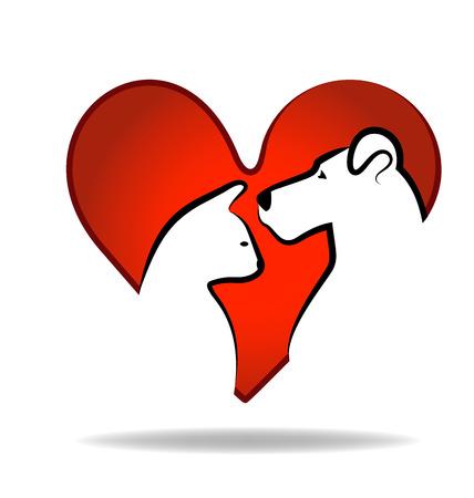 dessin coeur: Cat et le c?ur de chien amour logo conception abstraite Illustration