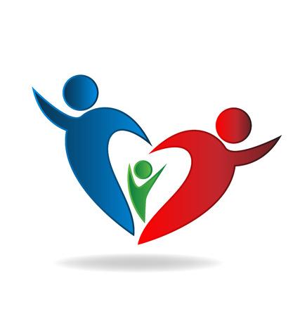familias unidas: Familia del vector del corazón