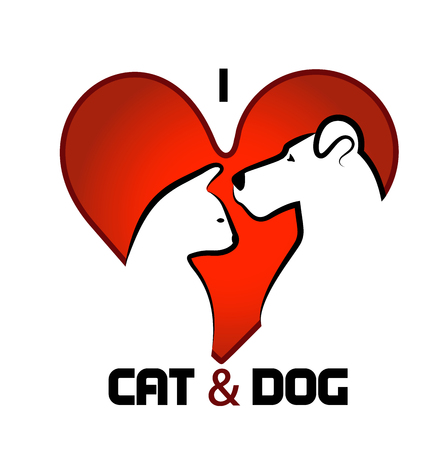 abstract love: Cat and dog heart love abstract design