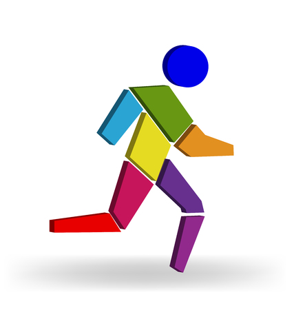 moved: Running man colorful 3D figure vector