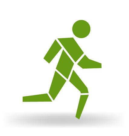 runners: Running man figurative vector