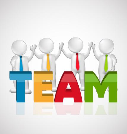 heart hard work: 3D Teamwork executives workers successful vector template