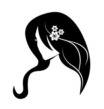 美容顔女の子シルエット ベクトル  イラスト・ベクター素材