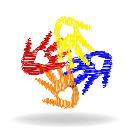 la union hace la fuerza: Amor Manos vector de impresión Vectores