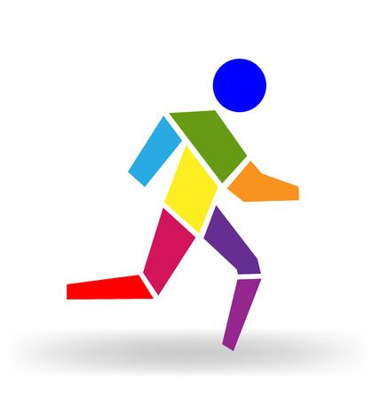 hombres corriendo: Hombre corriente colorido Figura del icono del vector Vectores