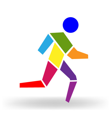 men running: Running man colorful icon figure vector