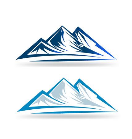montagna: Set di due mointains emblema ritratto vettore