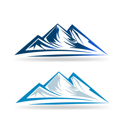 rocky road: Set of two Mointains emblem portrait vector
