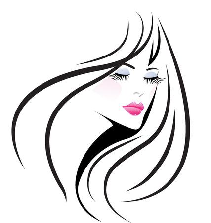 dessin noir et blanc: Visage beauté fille femme vecteur