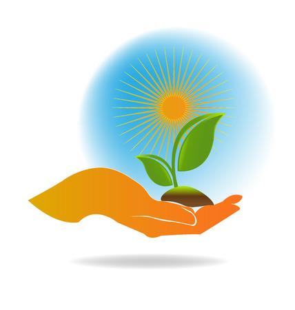 soins mains: Main usine de soins, le concept de l'�cologie vecteur
