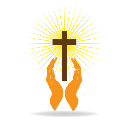 cross light: Faith hands vector Illustration