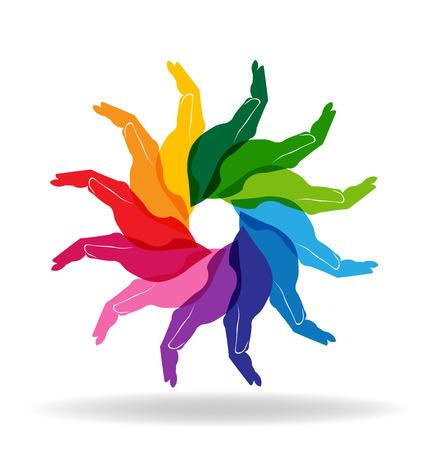 la union hace la fuerza: Manos coloridas personas de diversidad ayuda vector de concepto Vectores