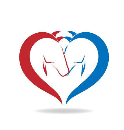 heart clipart: Horses in love vector Illustration