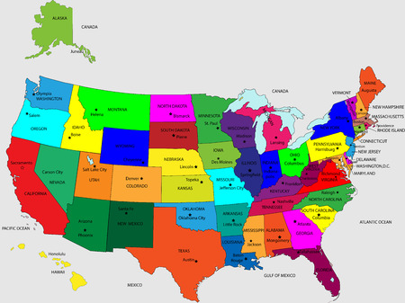 USA 50 States Colorful Map and State Names vector Stock Illustratie