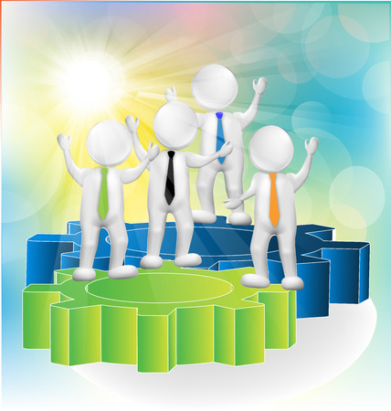 job application: Teamwork 3d people over gear wheals giving ideas sunny background