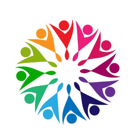 silhouette fleur: Travail d'équipe du parti faisant une forme de fleur