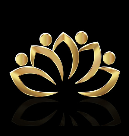 Gold lotus vector Stock Illustratie