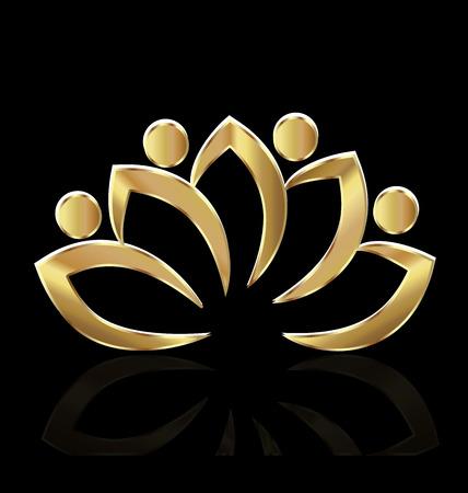Gold lotus vector Vectores