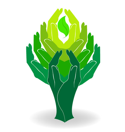 la union hace la fuerza: Diseño de árboles manos Verde