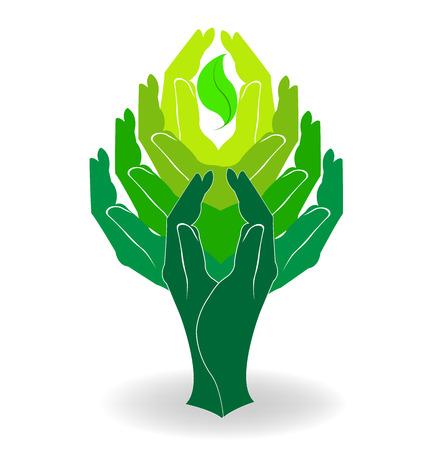 imprint: Green tree hands design
