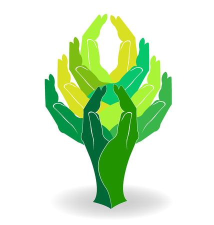 Green tree hands design