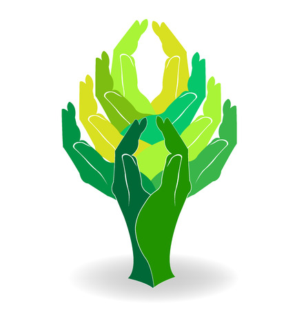 Green tree hands design