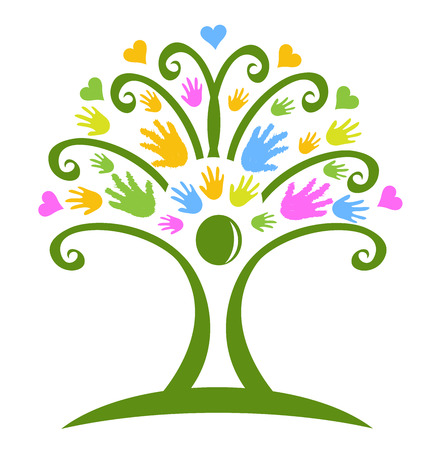 sociedade: �rvore mãos creche símbolo do logotipo do vetor