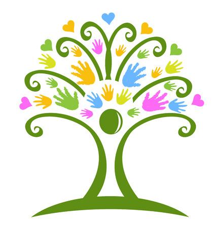 Árbol de las manos el cuidado de niños símbolo vector logo