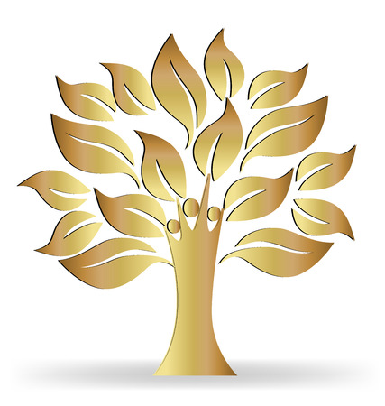 love tree: Tree people gold ecology concept logo vector Illustration