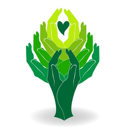 sociedade: Mãos árvore com um projeto do coração do logotipo do vetor Ilustração