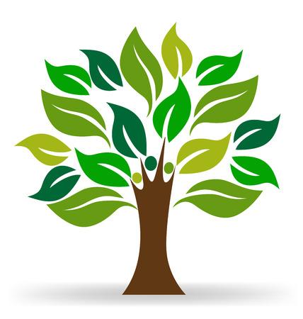 �rvore pessoas conceito da ecologia logotipo vector
