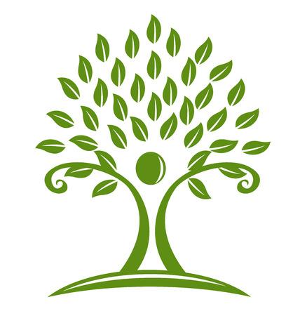 Tree swirly symbol logo vector