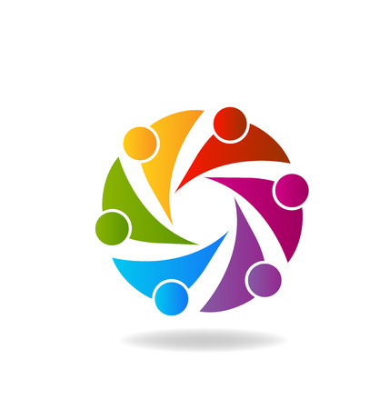 swooshes: Teamwork colorful business people logo vector Illustration