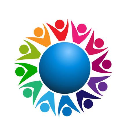 logos de empresas: Trabajo en equipo gente de negocios mundo logo conexión vectorial