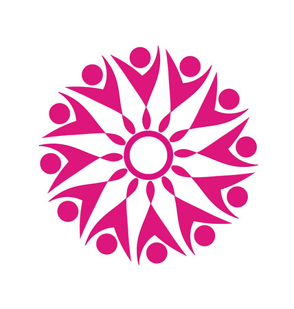 Teamwork pink party business people logo vector