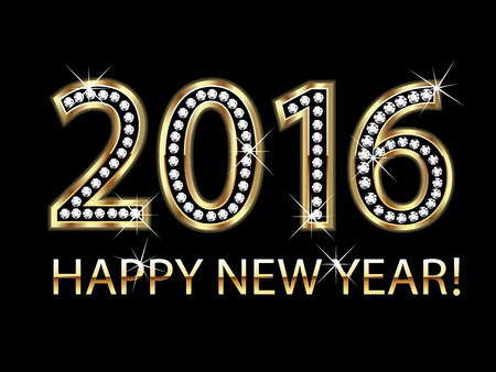 new year card: Happy new year 2016 gold background vector Illustration