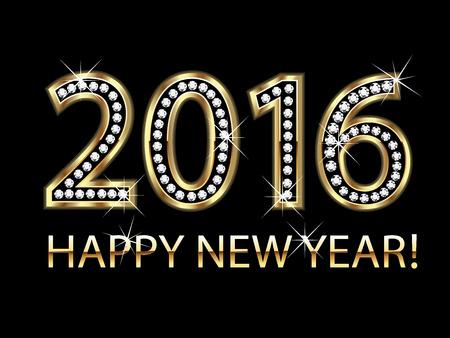 nowy rok: Szczęśliwego nowego roku 2016 złotym tle wektora