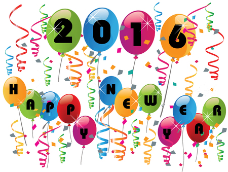 new year card: 2016 Happy new year celebration with balloons