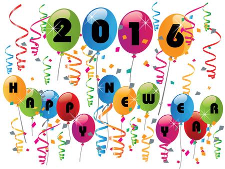 nowy rok: 2016 Szczęśliwego nowego roku obchody z balonami Ilustracja