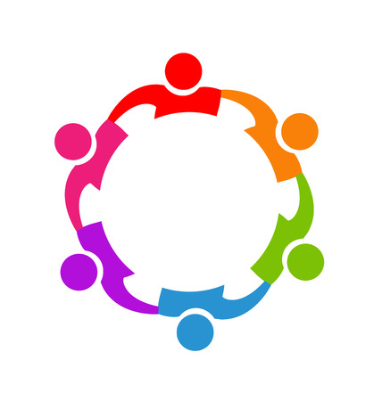 trabajo en equipo: Trabajo en equipo imagen vectorial abrazando personas