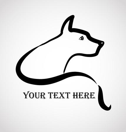 様式化された犬ロゴ ベクトル画像