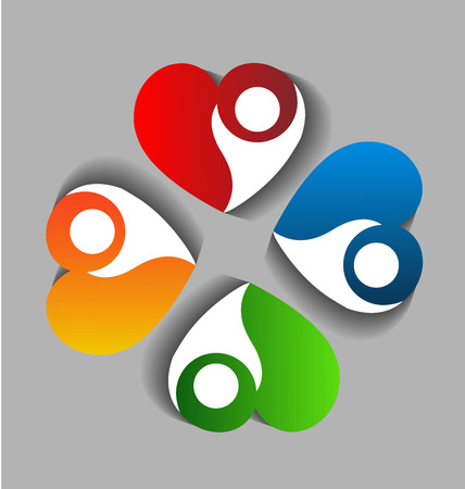 Logo teamwork heart people charity concept vector icon