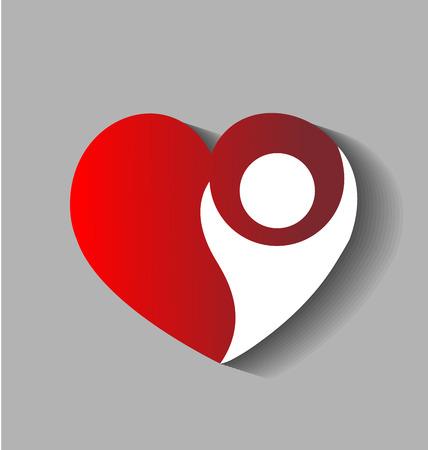 Cuore di amore cifra logo vettoriale Archivio Fotografico - 44305920
