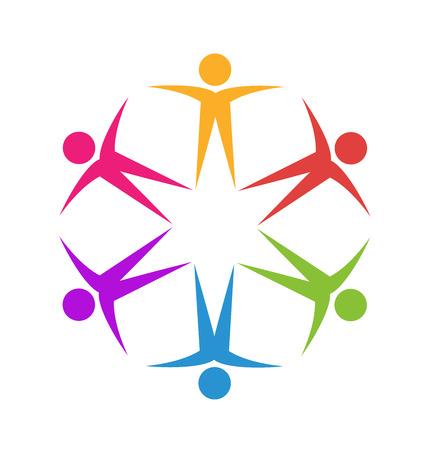 Teamwork friendship business people logo vector