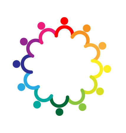 Teamwork holding hands colorful logo vector image