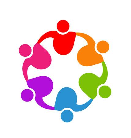 Teamwork hugging people logo vector image