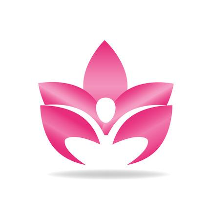 Lotus pink figure logo vector image
