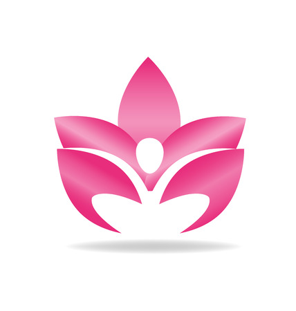 Lotusbloem roze cijfer logo vector afbeelding Stock Illustratie