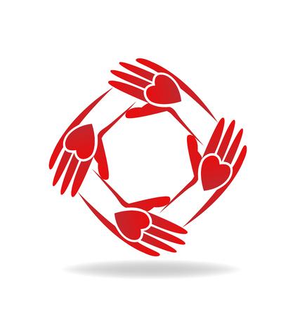 circulo de personas: Vector de trabajo en equipo manos gente icono rojo