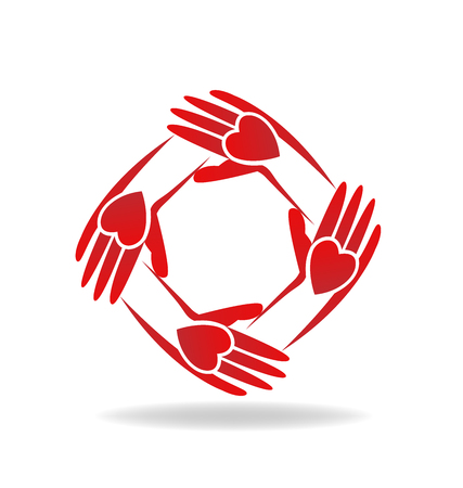 together voluntary: Vector of teamwork hands red people icon Illustration